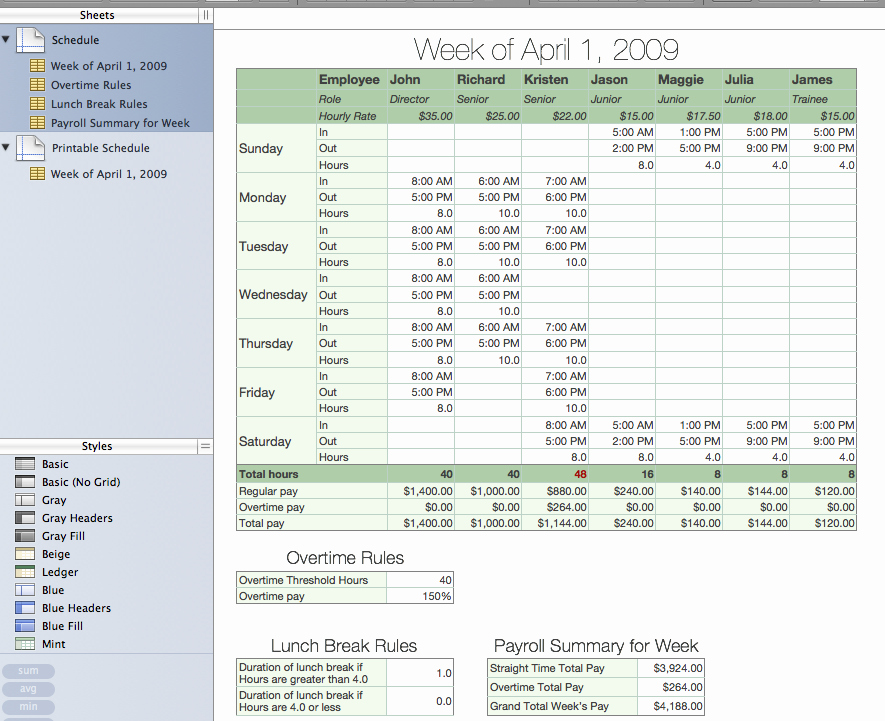 Employee Break Schedule Template Awesome Lunch Schedules for Employees