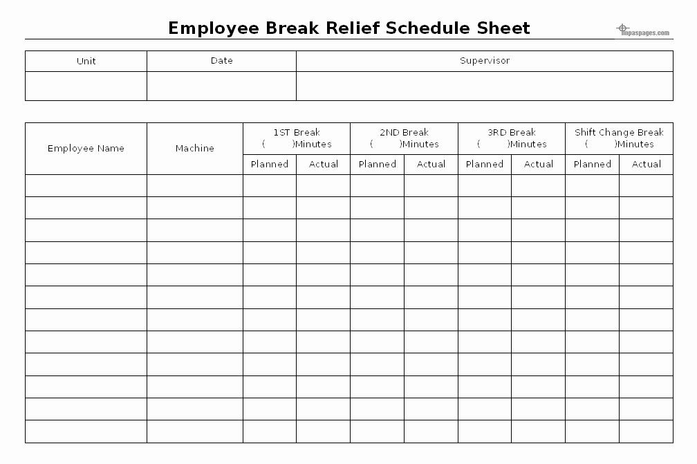 Employee Break Schedule Template Best Of Employee Break Relief Schedule Sheet format