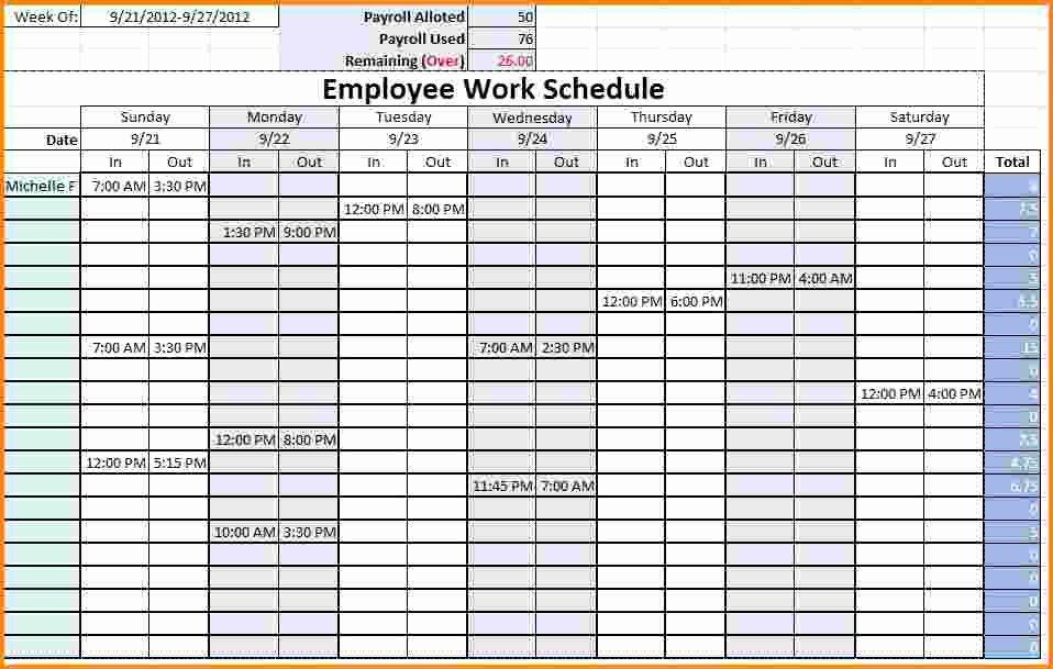 Employee Break Schedule Template Fresh 8 Work Schedule Template
