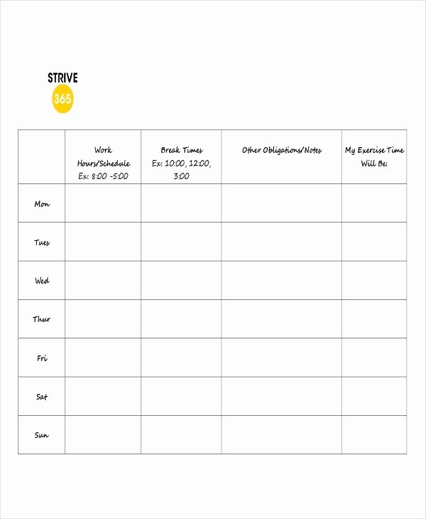 Employee Break Schedule Template Inspirational 7 Break Schedule Templates Free Sample Example format