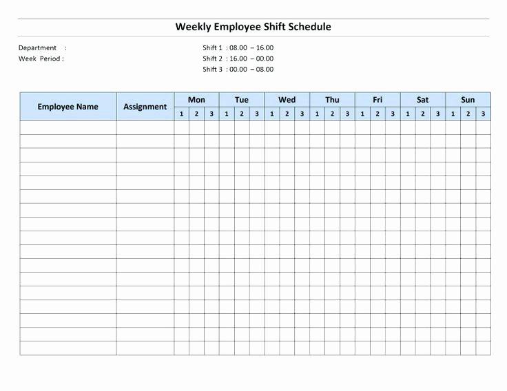 Employee Break Schedule Template New Weekly Employee Shift Schedule Template with Work for
