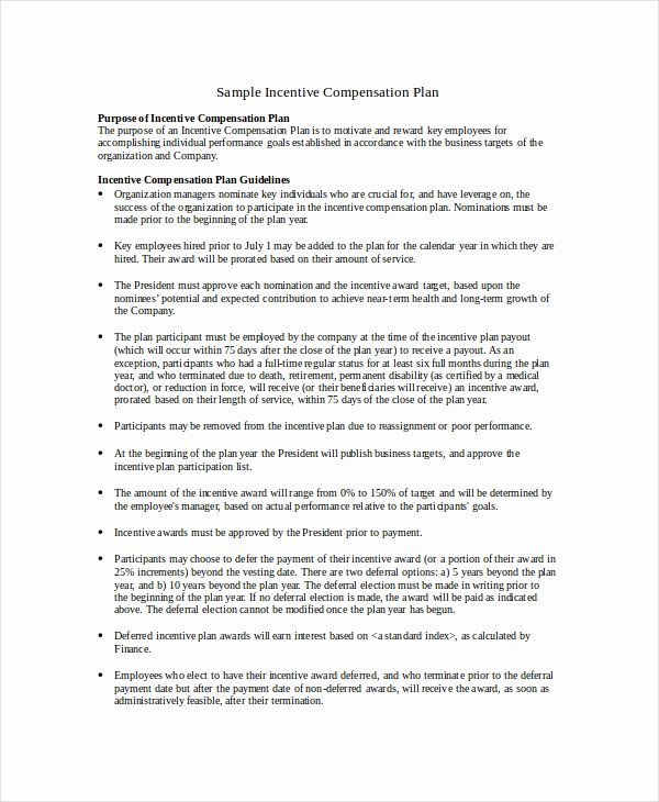 Employee Compensation Plan Template Fresh Pensation Plan Template 8 Free Word Document