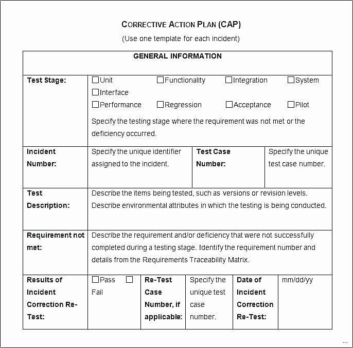 Employee Corrective Action Plan Template Awesome Incident Action Plan Template form Out Control Example