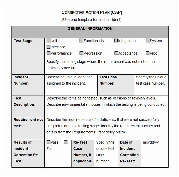 Employee Corrective Action Plan Template Beautiful Corrective Action Plan Template 25 Free Word Excel Pdf