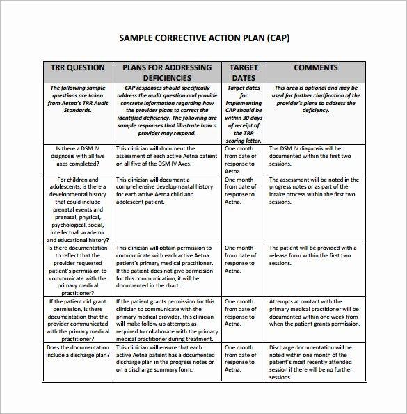 Employee Corrective Action Plan Template Luxury Corrective Action Plan Template 15 Free Sample Example