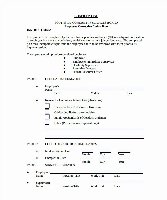 Employee Corrective Action Plan Template New 12 Sample Employee Action Plan Templates