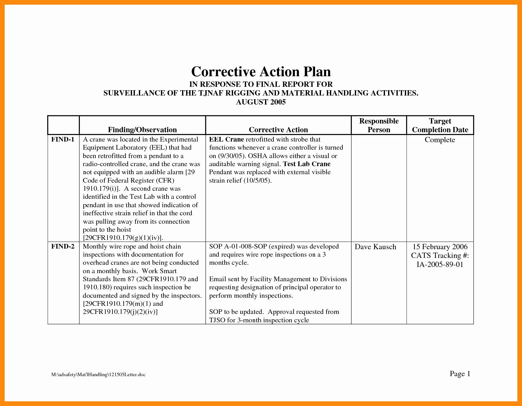 Employee Corrective Action Plan Template Unique Corrective Action Plan