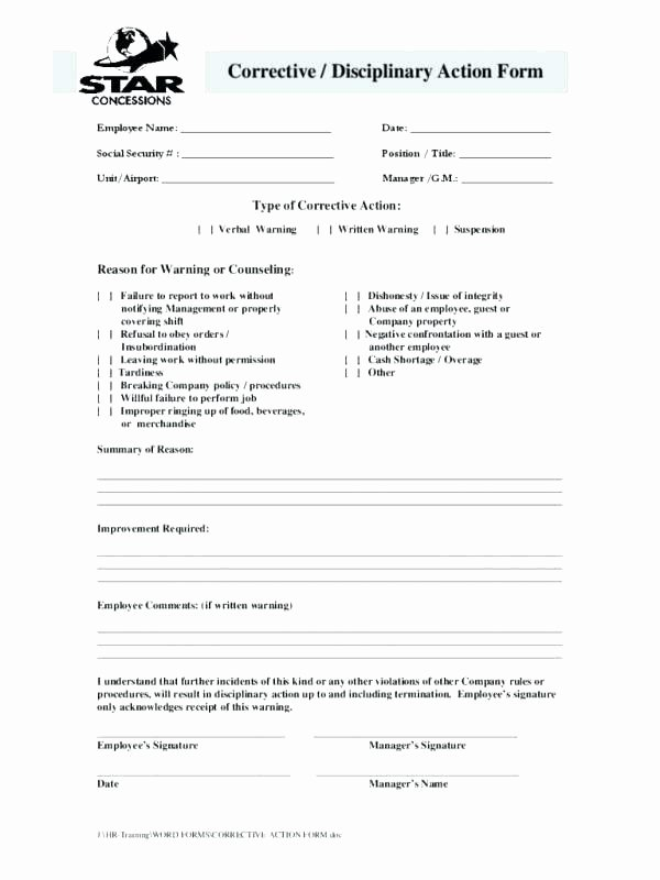 Employee Corrective Action Plan Template Unique Employee Write Up form Disciplinary Template Notice