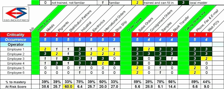 Employee Cross Training Template Fresh Matrix Employee Cross Training Template Excel In