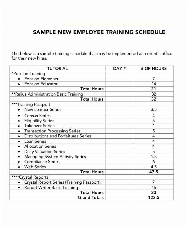 Employee Cross Training Template Inspirational Employee Training Schedule Template 14 Free Word Pdf