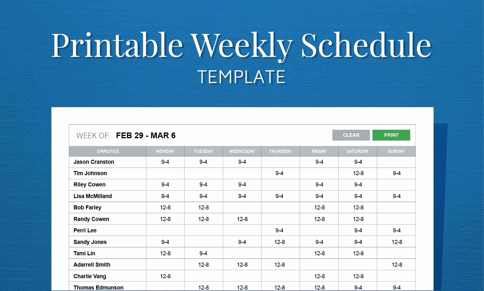 Employee Daily Work Schedule Template Awesome Daily Work Schedule Template