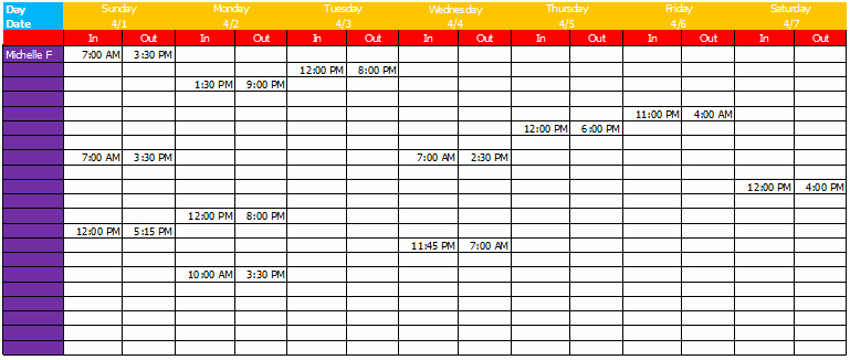 Employee Daily Work Schedule Template Beautiful Work Schedule Template Basic Sheets for Excel