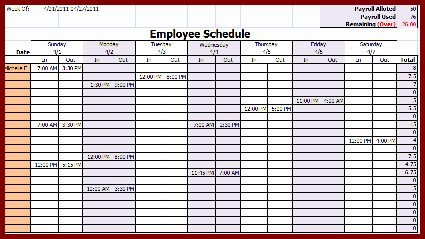 weekly employee schedule template 4734