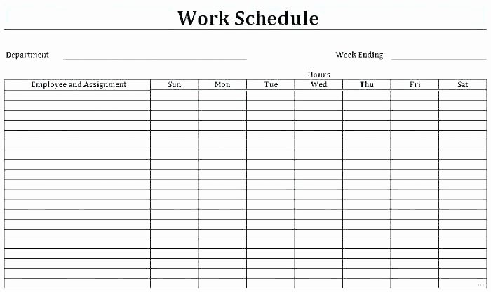 Employee Daily Work Schedule Template Fresh Blank Monthly Work Schedule Template Monthly Work Schedule