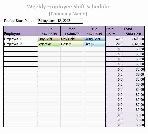 Employee Daily Work Schedule Template Inspirational 9 Work Schedule Templates Word Excel Pdf formats