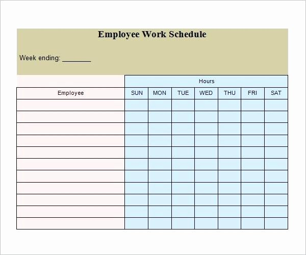 Employee Daily Work Schedule Template Lovely Calendar Template with Hours Fresh Employee Work Schedule