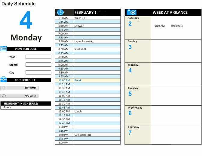 Employee Daily Work Schedule Template New Daily Work Schedule