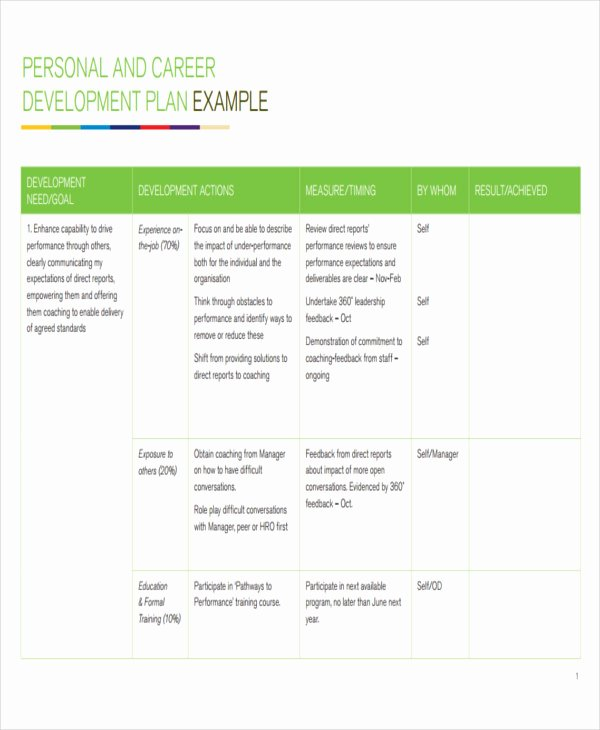 Employee Development Plan Template Fresh 22 Development Plan Templates