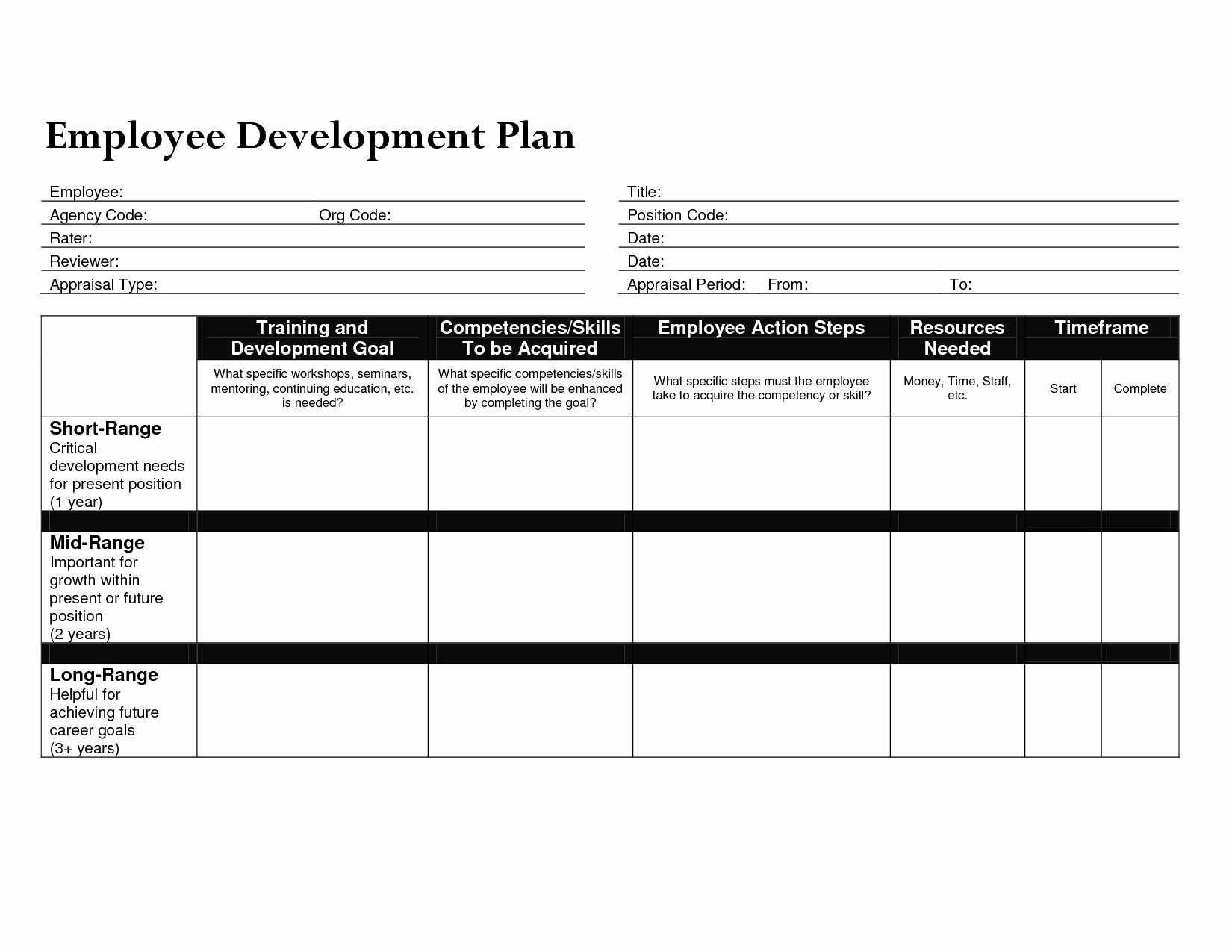 Employee Development Plan Template New Development Plan Template for Employees