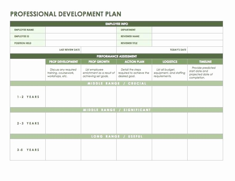 Employee Development Plan Template New Professional Development Plan Template Staff Employees