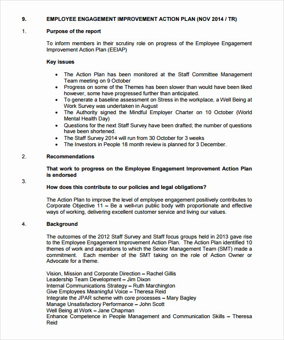 Employee Engagement Action Plan Template Luxury 12 Sample Employee Action Plan Templates