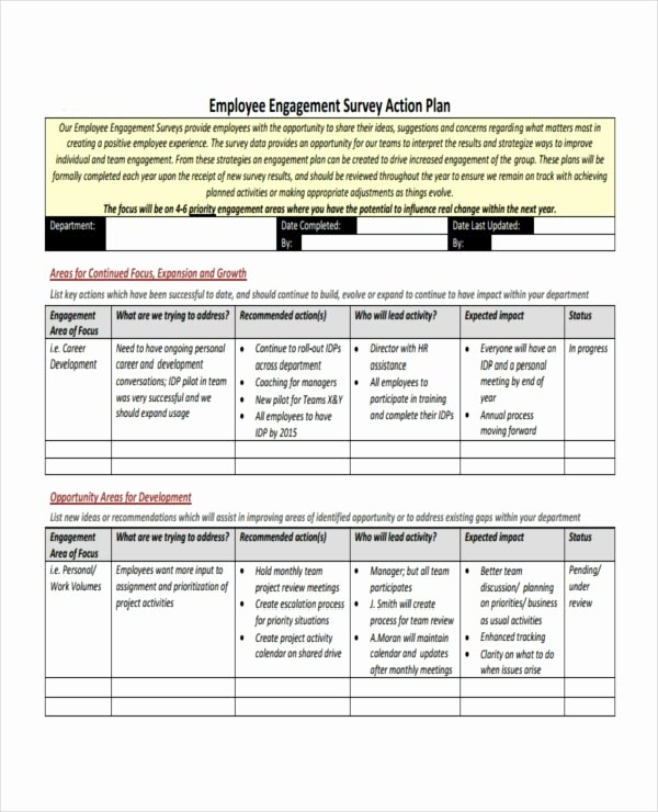 Employee Engagement Action Planning Template Unique Employee Survey Action Plan Template