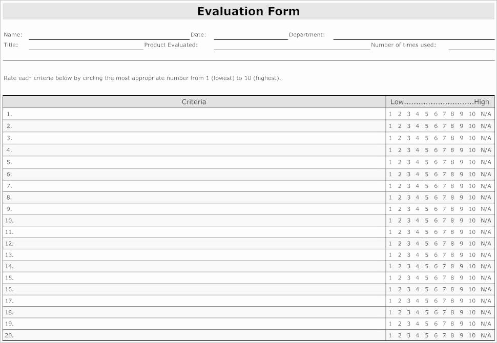 Employee Evaluation form Template Awesome Employee Evaluation forms Sample Sarahepps