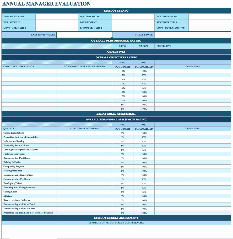 Employee Evaluation form Template New Free Employee Performance Review Templates Smartsheet