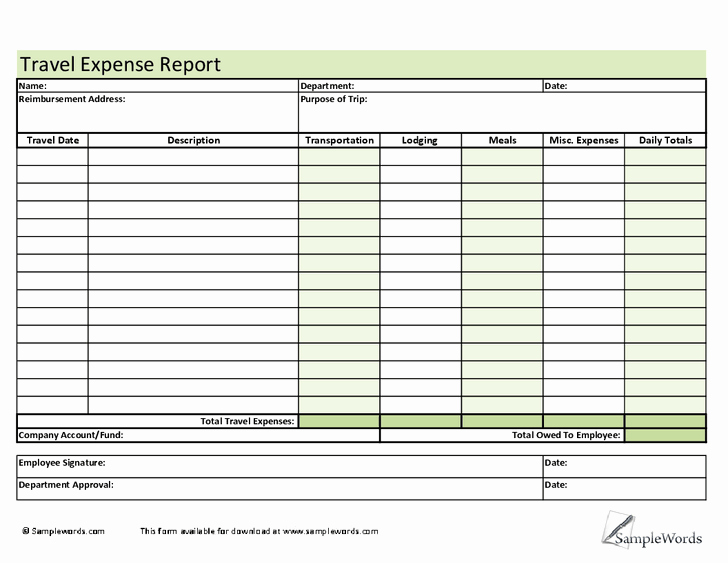 Employee Expense Report Template Beautiful 6 Employee Expense Report Templates – Word Templates