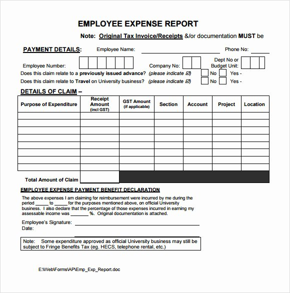 Employee Expense Report Template Best Of 9 Expense Report Templates – Free Samples Examples