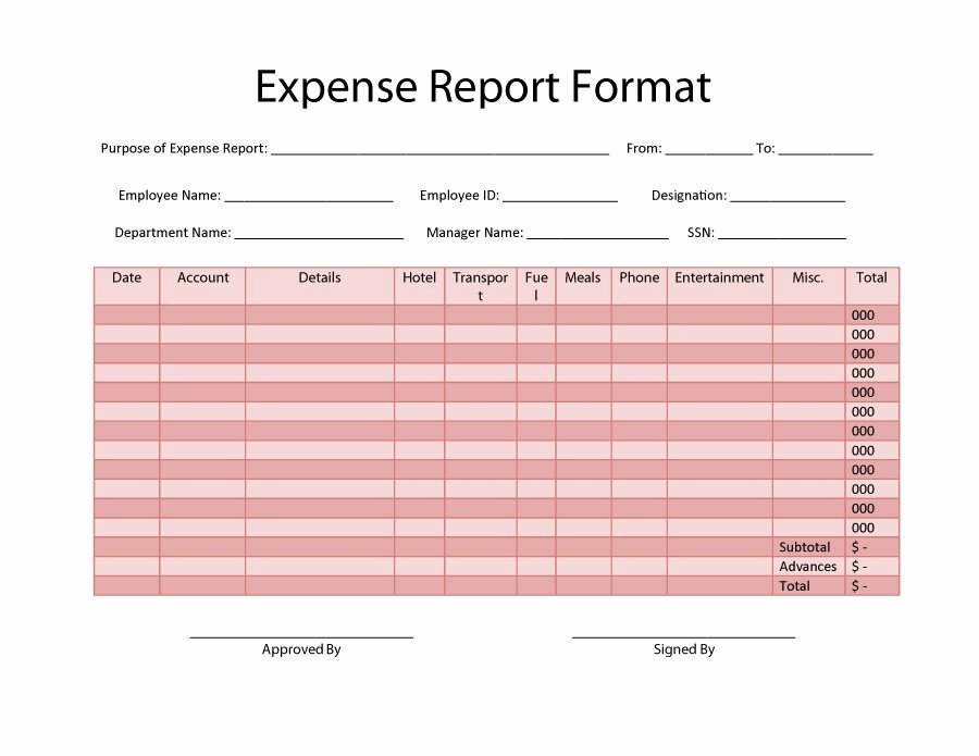 Employee Expense Report Template Elegant 40 Expense Report Templates to Help You Save Money
