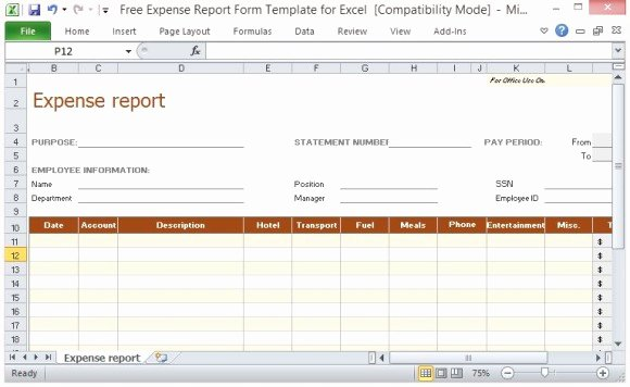 Employee Expense Report Template Elegant Free Expense Report form Template for Excel