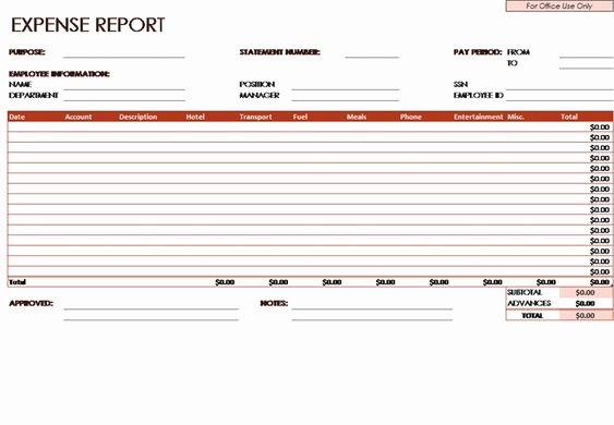 Employee Expense Report Template Inspirational Expense Report Template An Employee Will Fill This