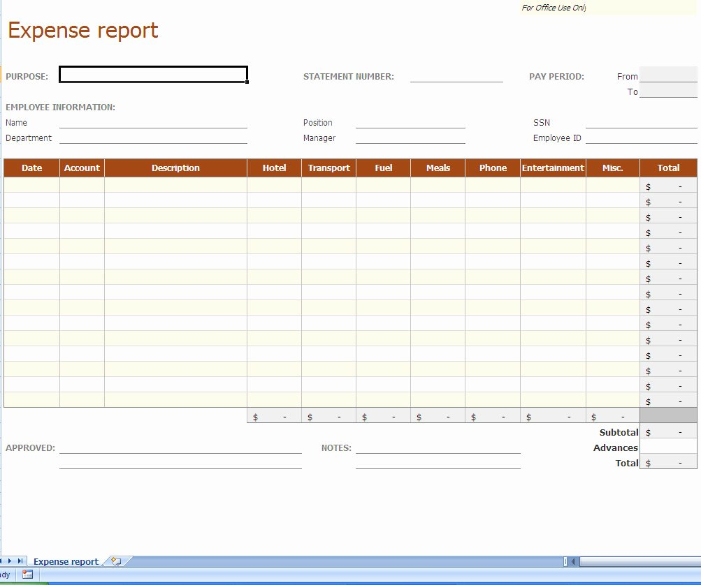 Employee Expense Report Template Lovely Expense Report Excel Template