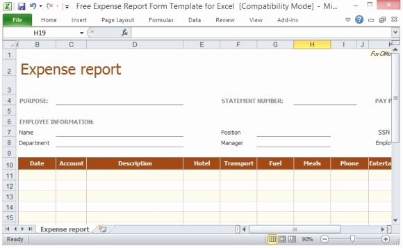 Employee Expense Report Template Luxury Free Expense Report form Template for Excel