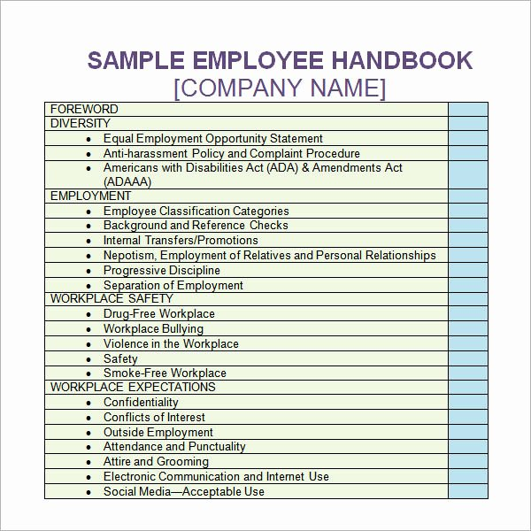 Employee Handbook Design Template Awesome 6 Sample Printable Employee Handbook Templates