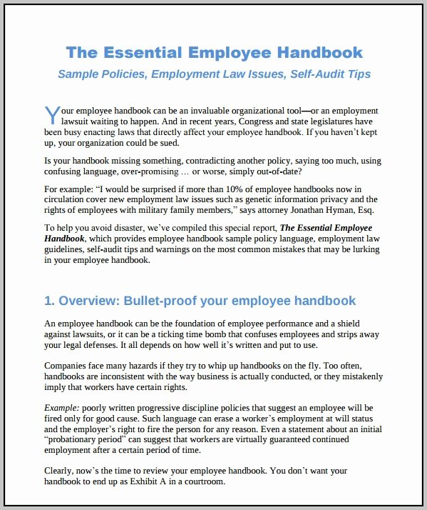 Employee Handbook Design Template Awesome Employee Handbook Sample Medical Fice Template