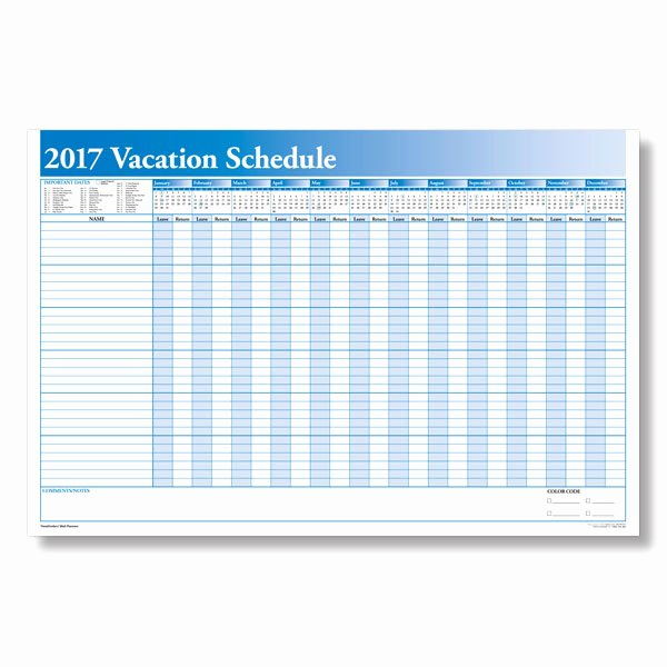 Employee Holiday Schedule Template Beautiful 2017 Vacation Calendar for Employees