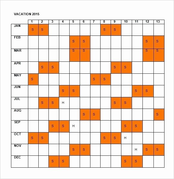 Employee Holiday Schedule Template Beautiful Employee Vacation Tracking Calendar Excel Template 2015