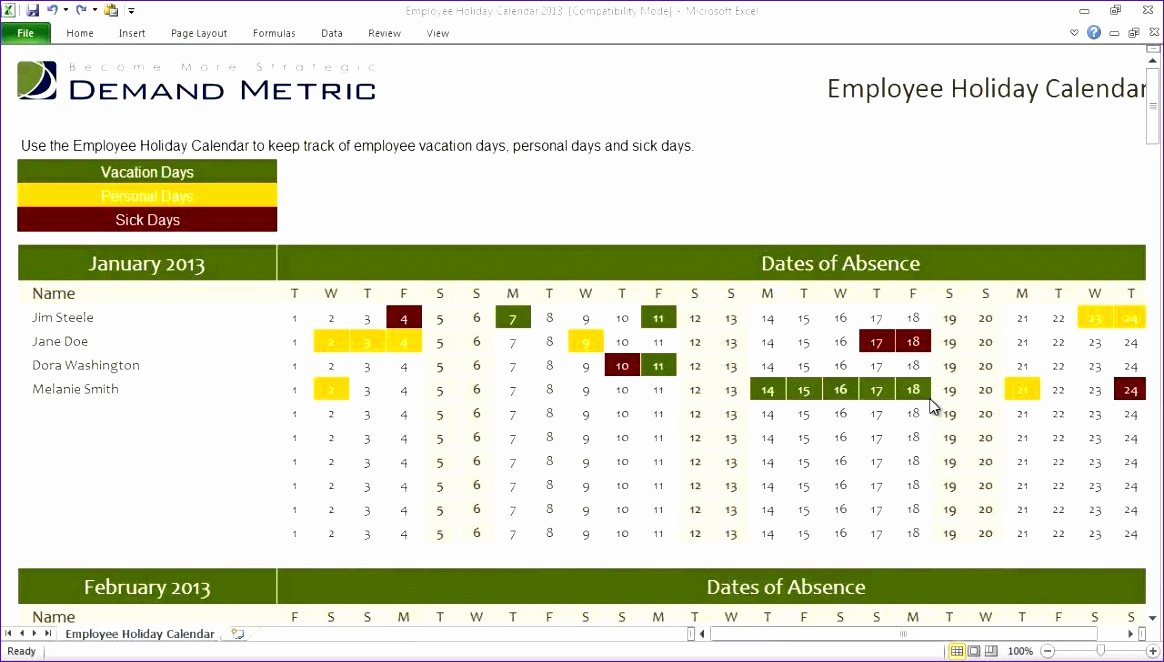 Employee Holiday Schedule Template Best Of 11 Staff Holiday Planner Excel Template Exceltemplates