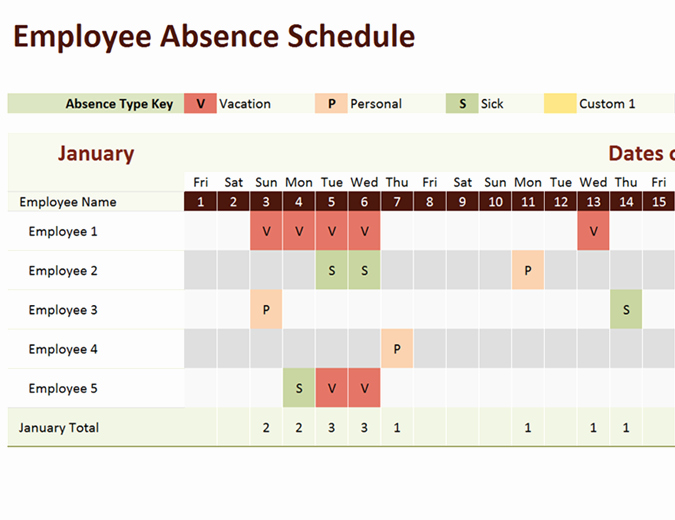 Employee Holiday Schedule Template Elegant Employee Absence Schedule