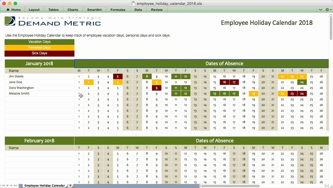 Employee Holiday Schedule Template Elegant Excel Employee Vacation Calendar Template 2017