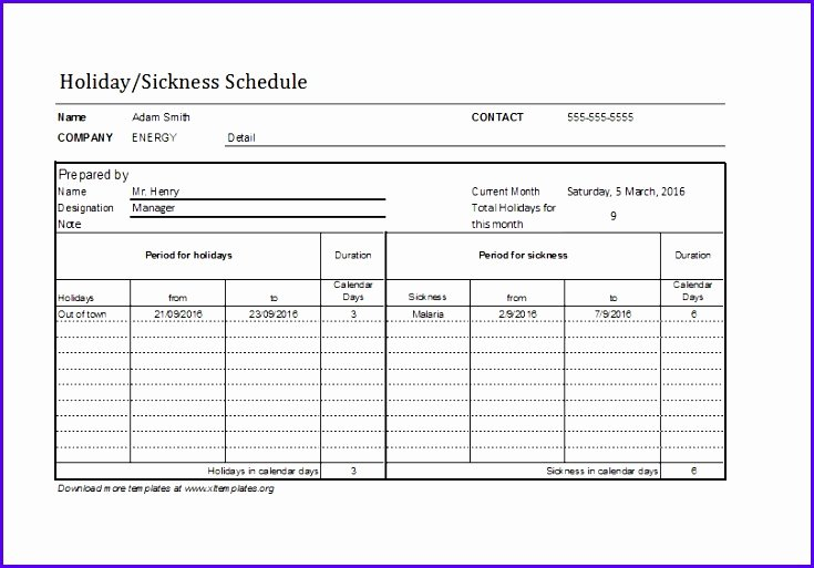 Employee Holiday Schedule Template Lovely 5 Vacation Schedule Template Excel Exceltemplates