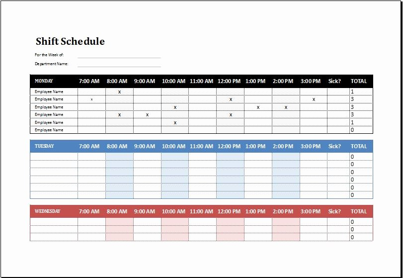 Employee Hourly Schedule Template New Employee Shift Schedule Template Ms Excel