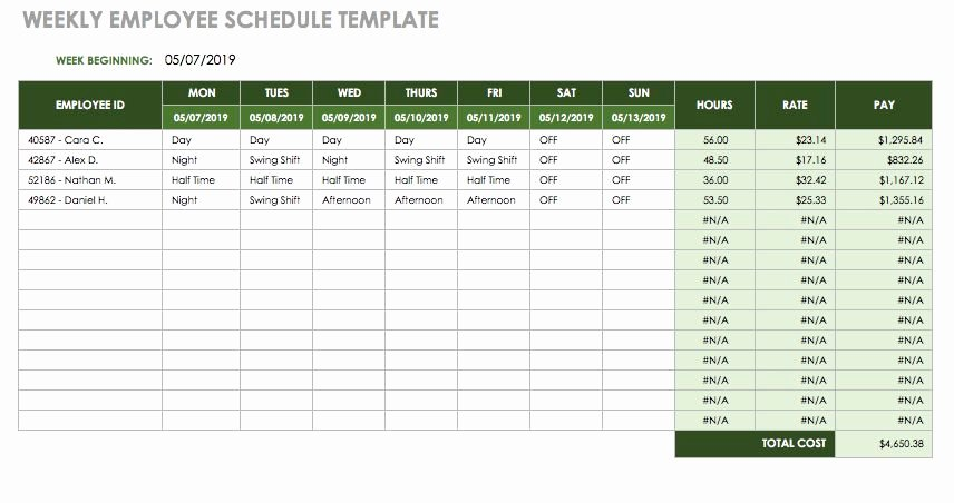 Employee Lunch Schedule Template Awesome 17 Free Timesheet and Time Card Templates