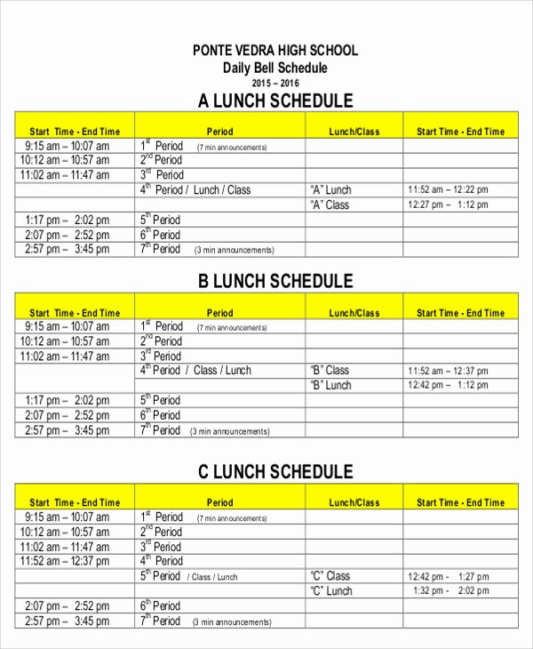 Employee Lunch Schedule Template Beautiful 8 Lunch Schedule Templates Sample Examples