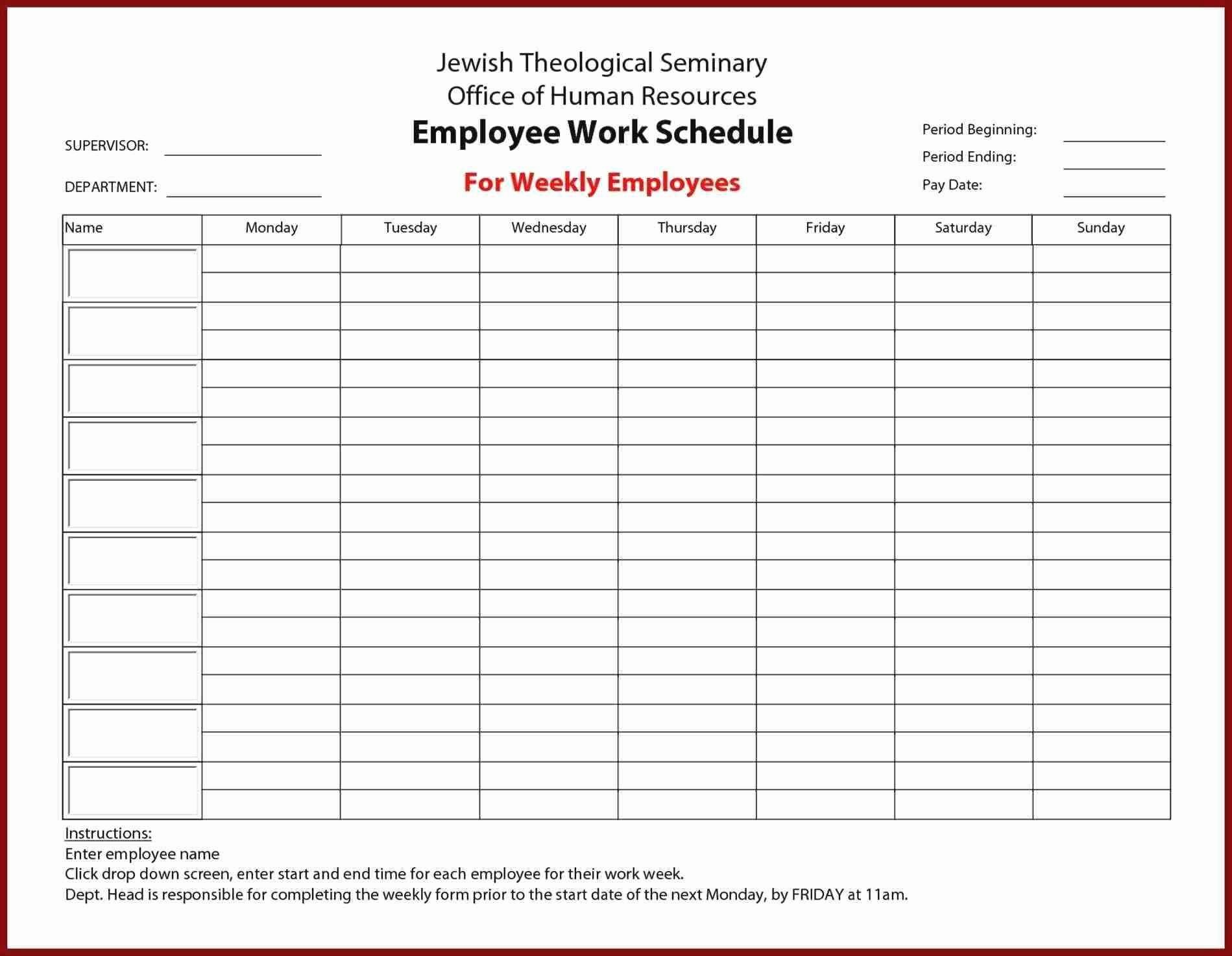 Employee Lunch Schedule Template Elegant Awesome Employee Shift Schedule Excel Template Download