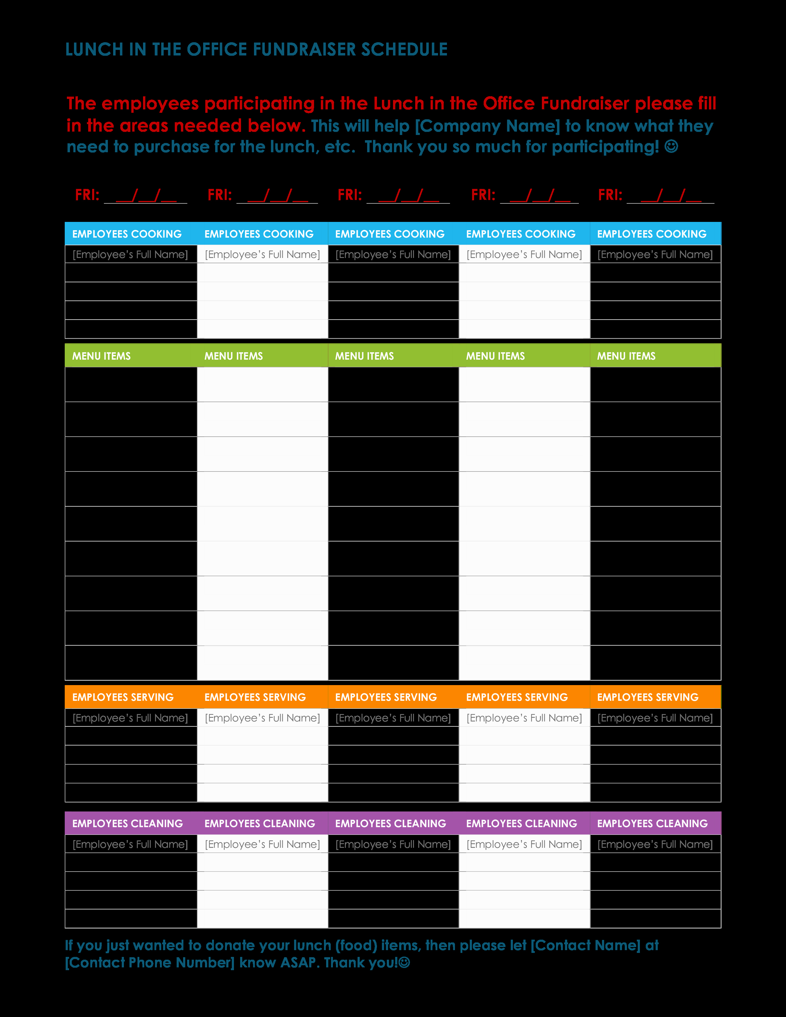 Employee Lunch Schedule Template Inspirational Free Fice Lunch Schedule