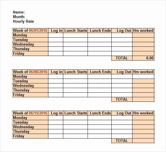 Employee Lunch Schedule Template Lovely Excel Timesheet Templates 7 Free Download for Excel