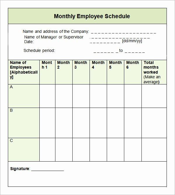 Employee Monthly Schedule Template Elegant 9 Sample Monthly Schedule Templates to Download